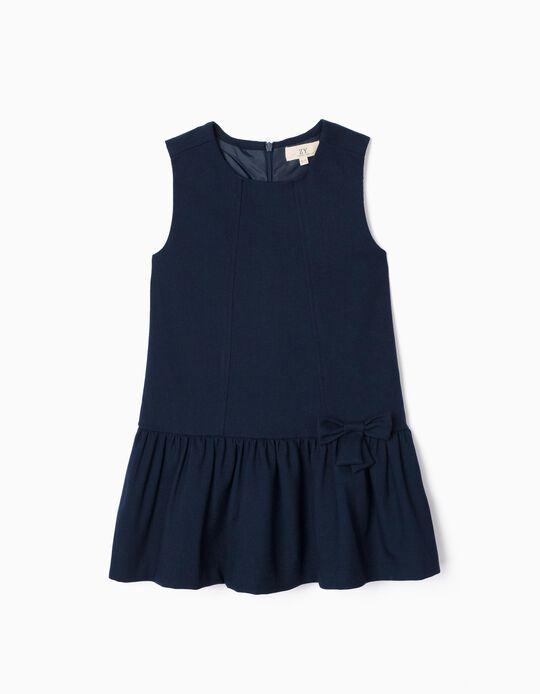 Vestido de Sarja para Menina 'B&S', Azul Escuro