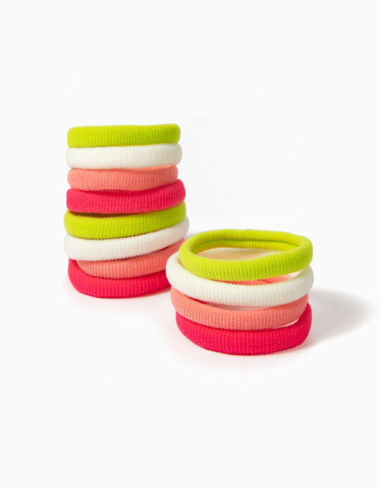 Pack of 12 Hair Elastic Bands, Neon