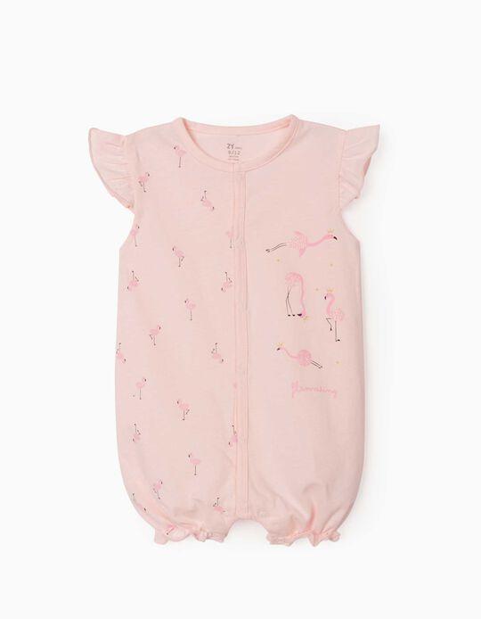Short Sleeve Sleepsuit for Baby Girls, 'Flamaring', Pink