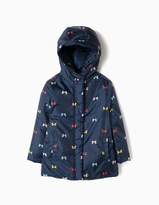 Padded Jacket for Girls 'Bows', Dark Blue