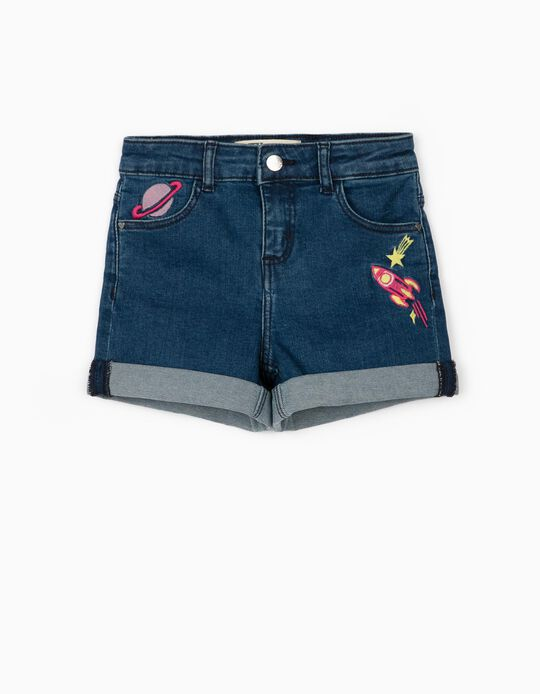 Denim Shorts for Girls 'Space', Blue