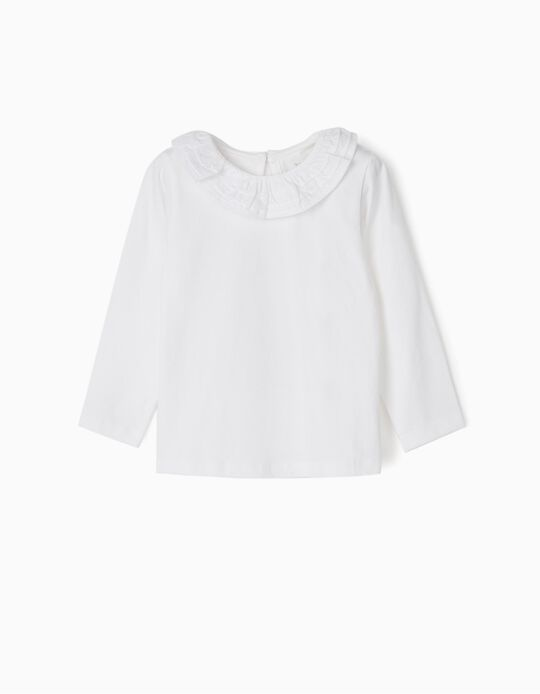 Long Sleeve Top with Ruffle for Baby Girls, White