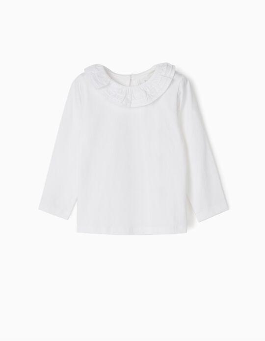 T-shirt Manga Comprida com Folho para Bebé Menina, Branco