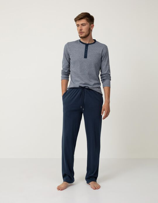 Pijama de Algodão às Riscas, Homem, Azul