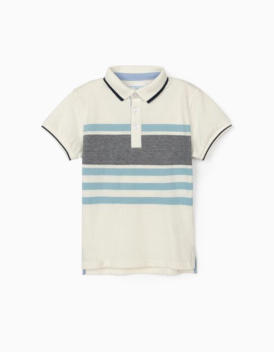Striped Polo Shirt for Boys, 'B&S', White/Blue