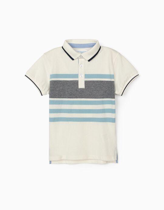 Striped Polo Shirt for Boys, 'B&S', White/Blue
