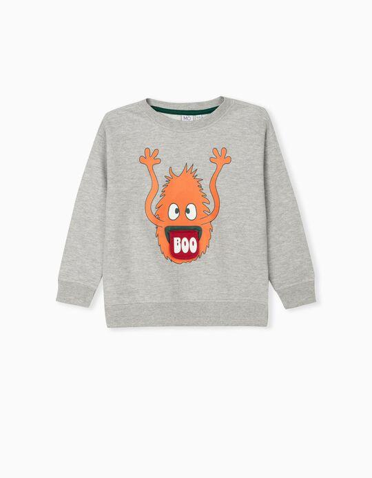 Sweatshirt with Interactive Print, Kids, Grey