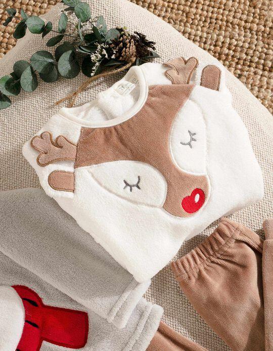 Pyjamas for Girls 'Christmas Reindeer', White/Brown