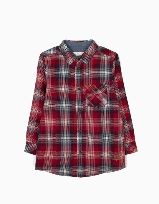 Camisa Xadrez com Bolso Vermelha