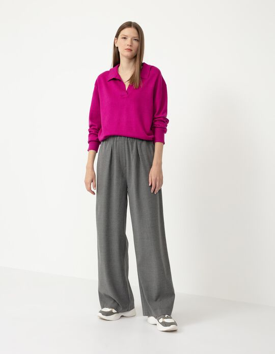 Wide Leg Trousers, Women, Grey