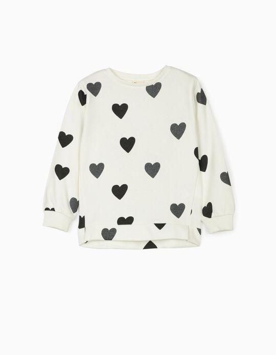 Sweatshirt for Girls 'Hearts', White