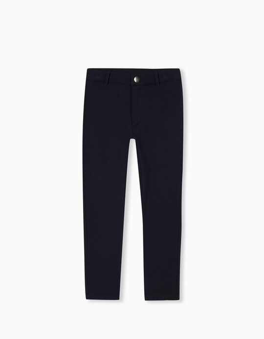 Knitted Trousers for Girls, Dark Blue