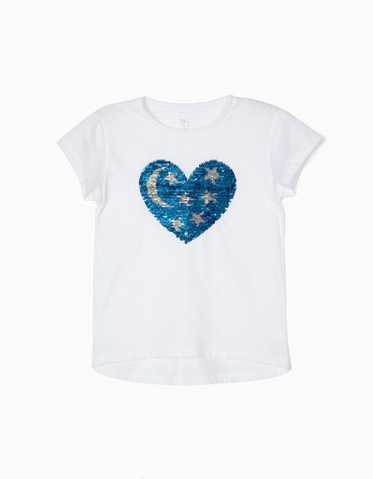 T-shirt para Menina 'Heart & Stars' com Lantejoulas Reversíveis, Branco