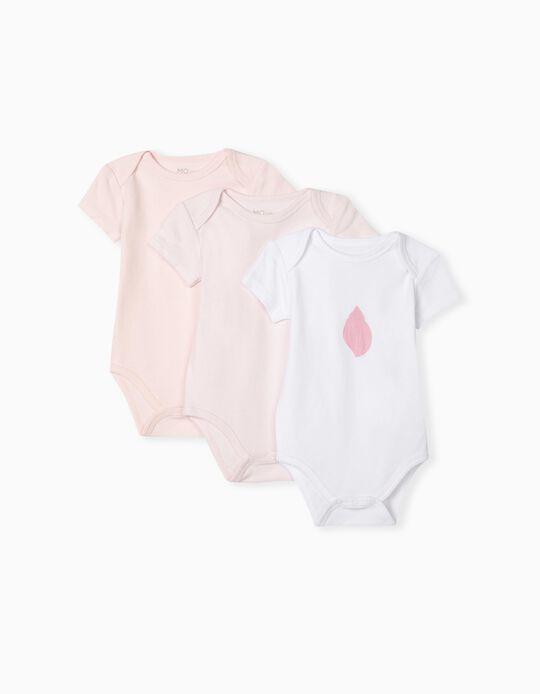 3 Short Sleeve Bodysuits, Baby Girls