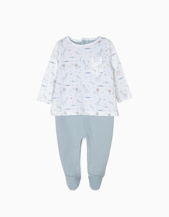 Babygrow com Textura para Recém-Nascido, Branco e Azul