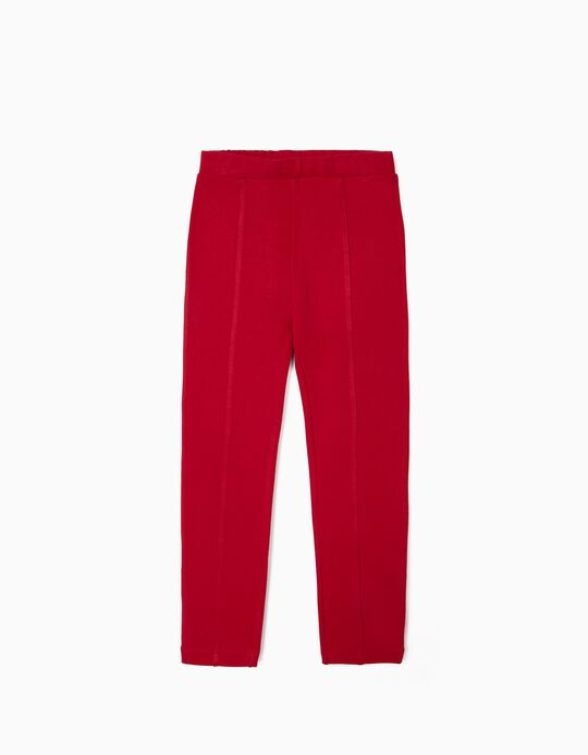 Leggings With Creases for Girls, Red