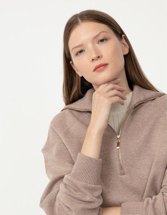 Sweatshirt with Zip, Women, Beige