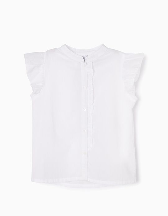 Blusa lisa com folhos