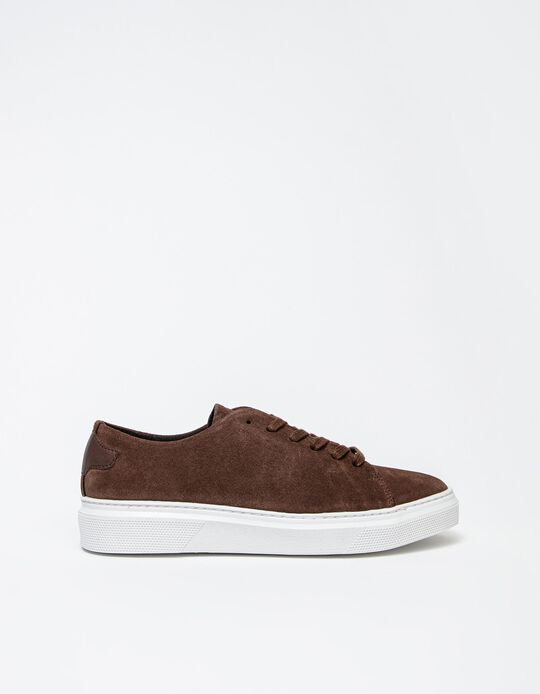Suede Trainers, Women, Camel