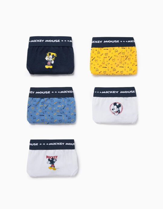 5 Briefs for Boys, 'Mickey', Blue/White/Yellow