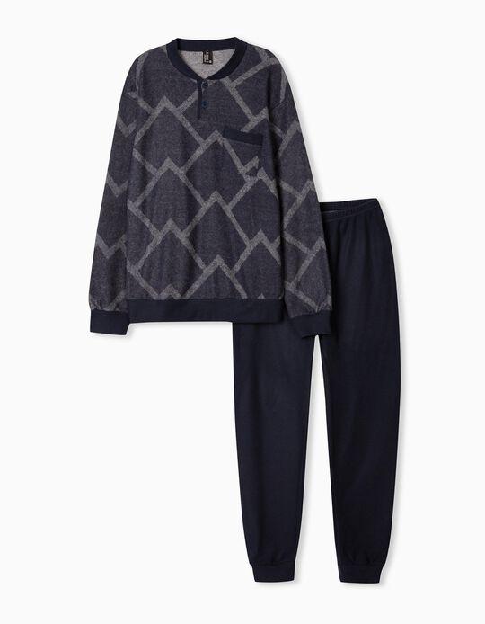 Pijama com Padrão, Homem, Azul Escuro