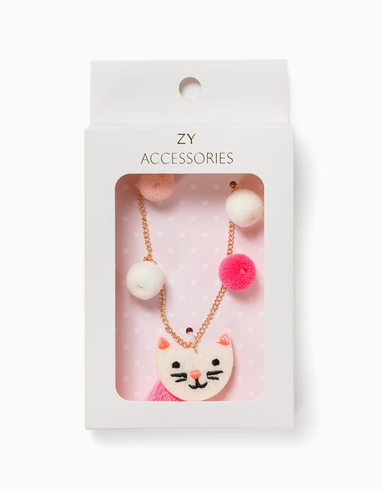 Chain for Girls, 'Cute Cat', Gold/White/Pink