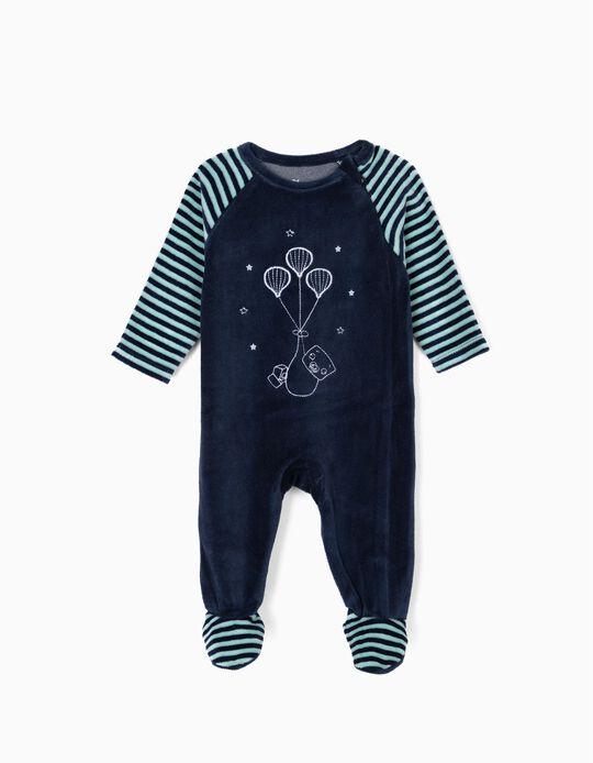 Babygrow de Veludo para Recém-Nascido com Bordado, Azul Escuro