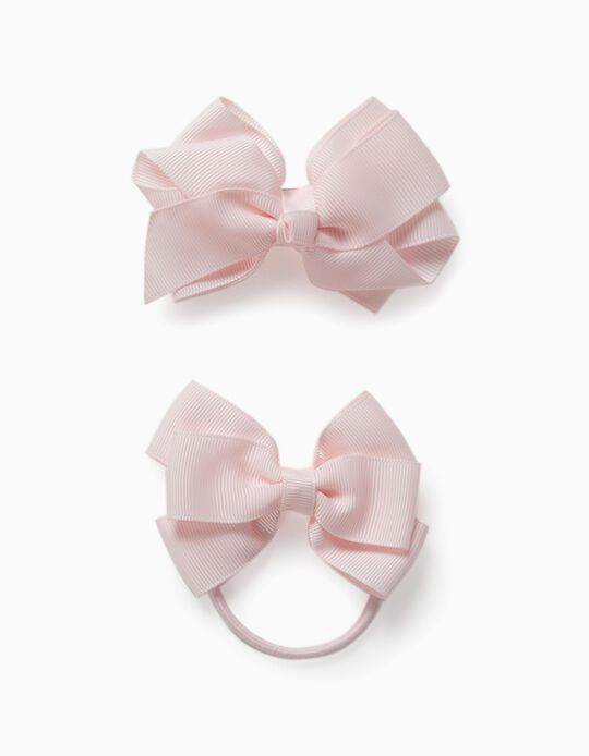 Pack with Hair Slide + Bobble for Girls, 'Bows', Pink