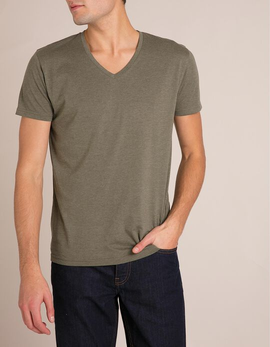 T-Shirt Decote Em V Verde