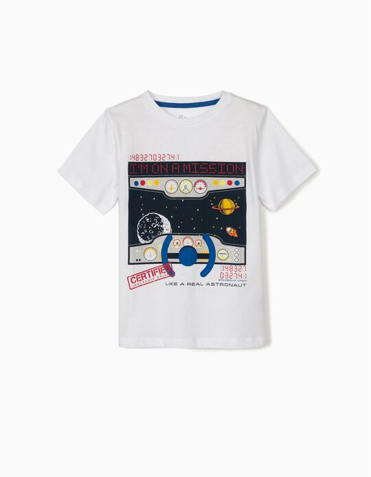 T-shirt for Boys, 'Like a Real Astronaut', White