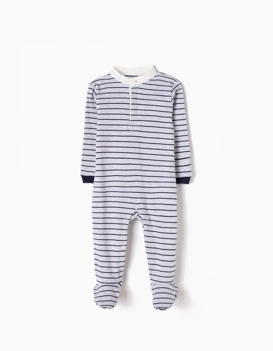All-In-One, Grey with Blue Stripes