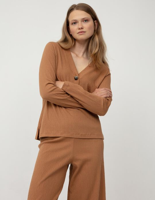 Long Sleeve Blouse for Women, Brown