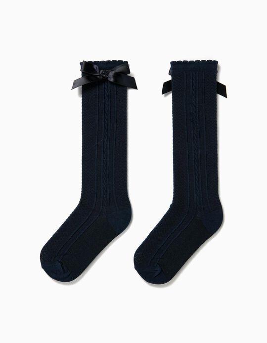Meias Altas para Menina com Laço, Azul Escuro