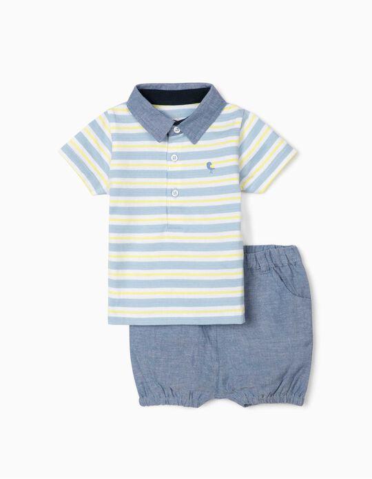 Polo Shirt & Shorts for Newborn Baby Boys, 'Little Bird', Blue