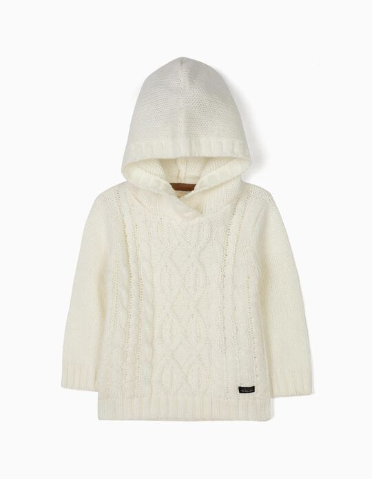 Hooded Knit Jumper for Baby Boys, White
