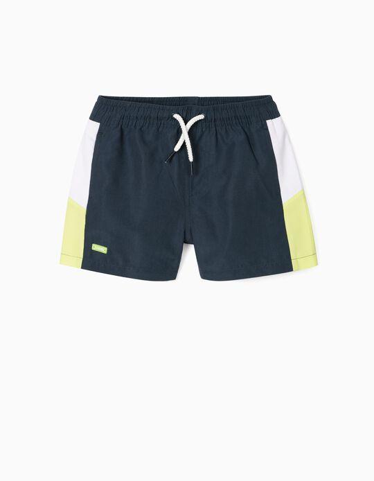 Swim Shorts for Baby Boys, UPF 80, 'ZY 1996', Dark Blue