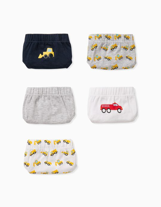 5 Briefs for Boys, 'Tractors', Grey/White/Blue