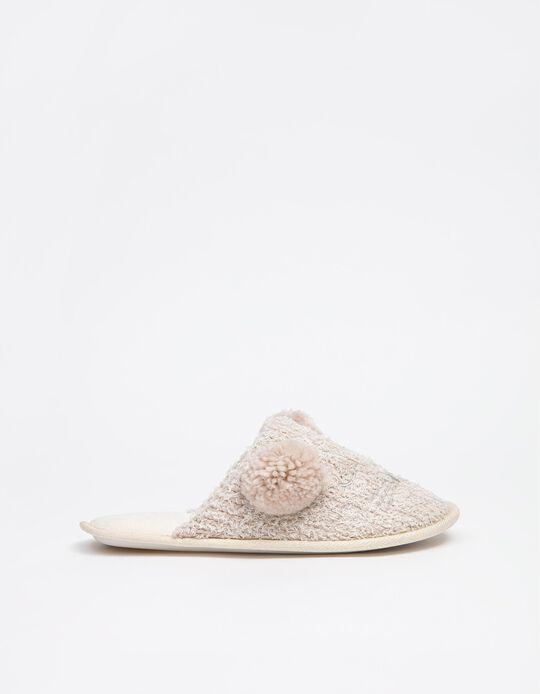 Bedroom Slippers with Pompoms, Women, Beige