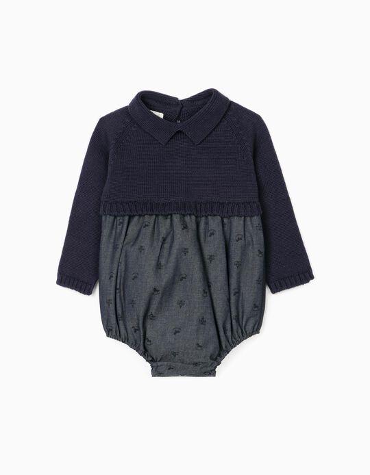 Dual Fabric Jumpsuit for Newborn Baby Girls, Dark Blue