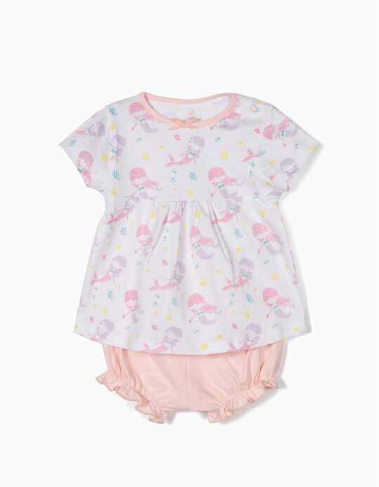 Pijama para Bebé Menina 'Mermaid', Branco e Rosa
