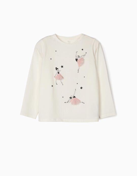 Long-sleeve Top for Girls 'Ballerinas', White