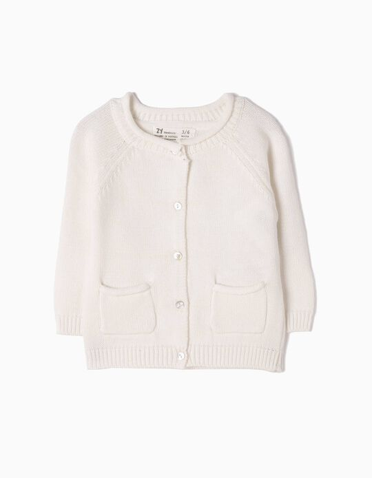 Cardigan for Newborn Girls, White