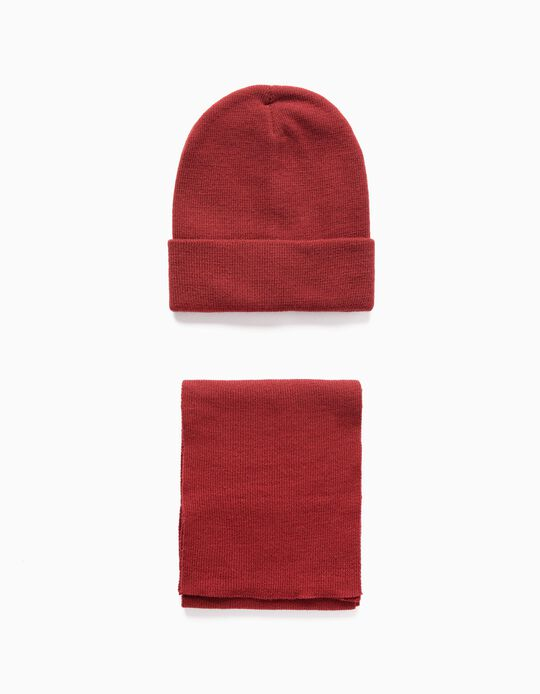 Beanie + Scarf for Boys and Baby Boys, Dark Red