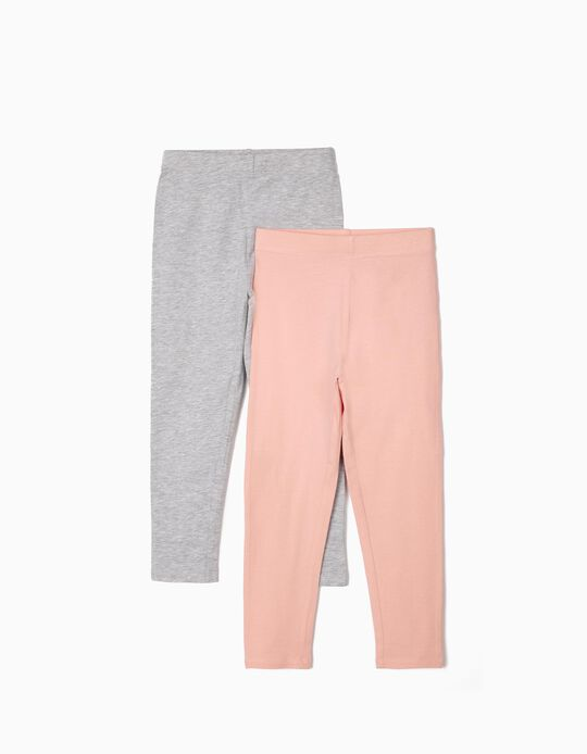 2 Pairs of Basic Leggings, for Girls