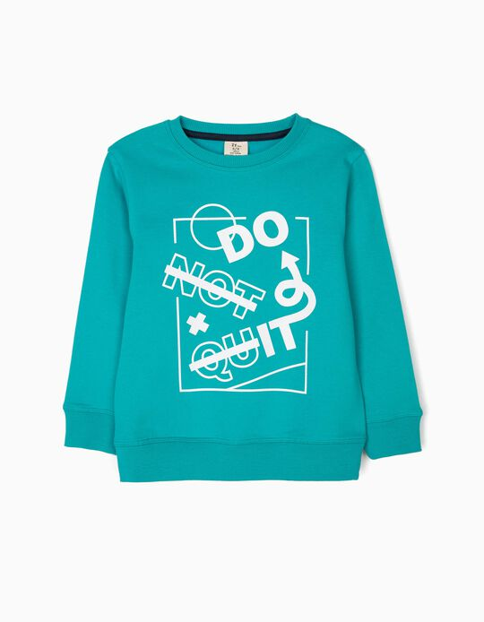 Sweatshirt para Menino 'Do It', Verde-Azulado