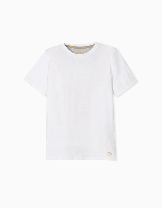 White Cotton T-Shirt, for Boys
