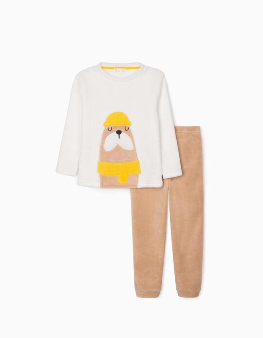 Pijama para Menino 'Beaver', Branco/Camel