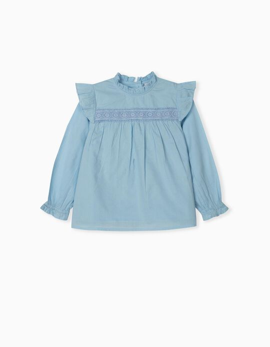 BLOUSE LS EMBROIDERY, LIGHT BLUE8, 3/4