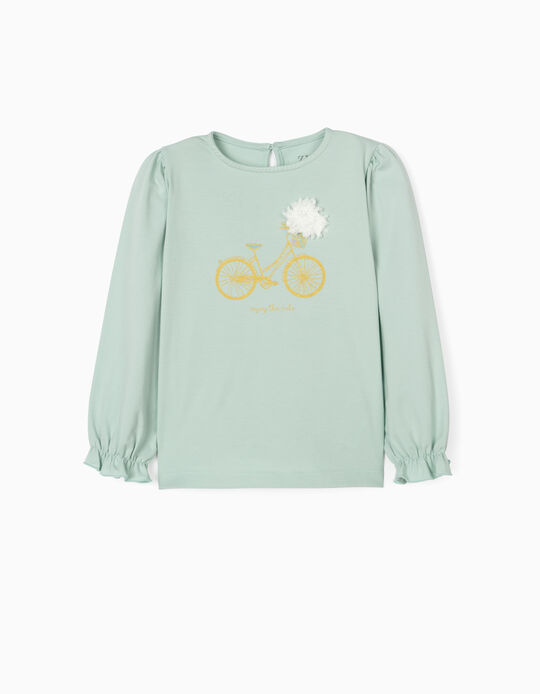 Long Sleeve Top for Girls, 'Ride', Green