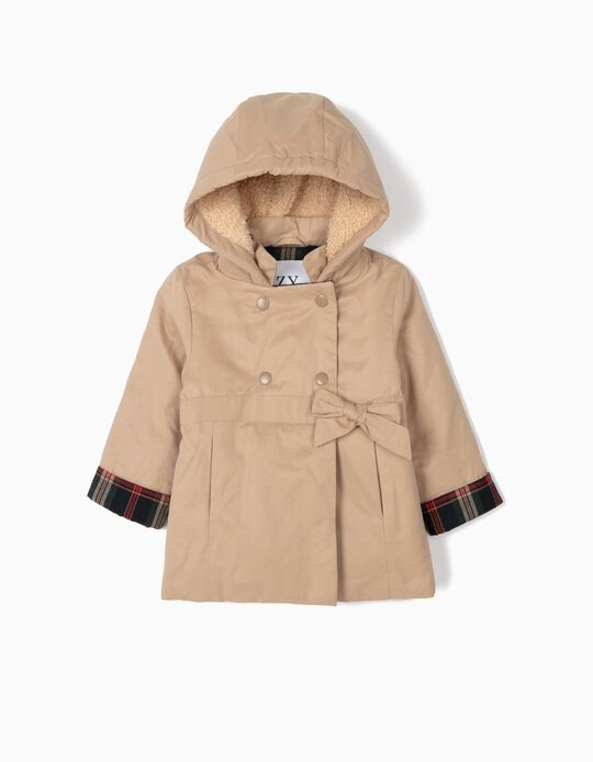 Hooded Jacket for Baby Girls 'B&S', Beige